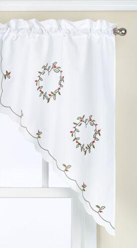 56 by 38-Inch K1506057L Lorraine Home Fashions Holly Wreath Swag Pair