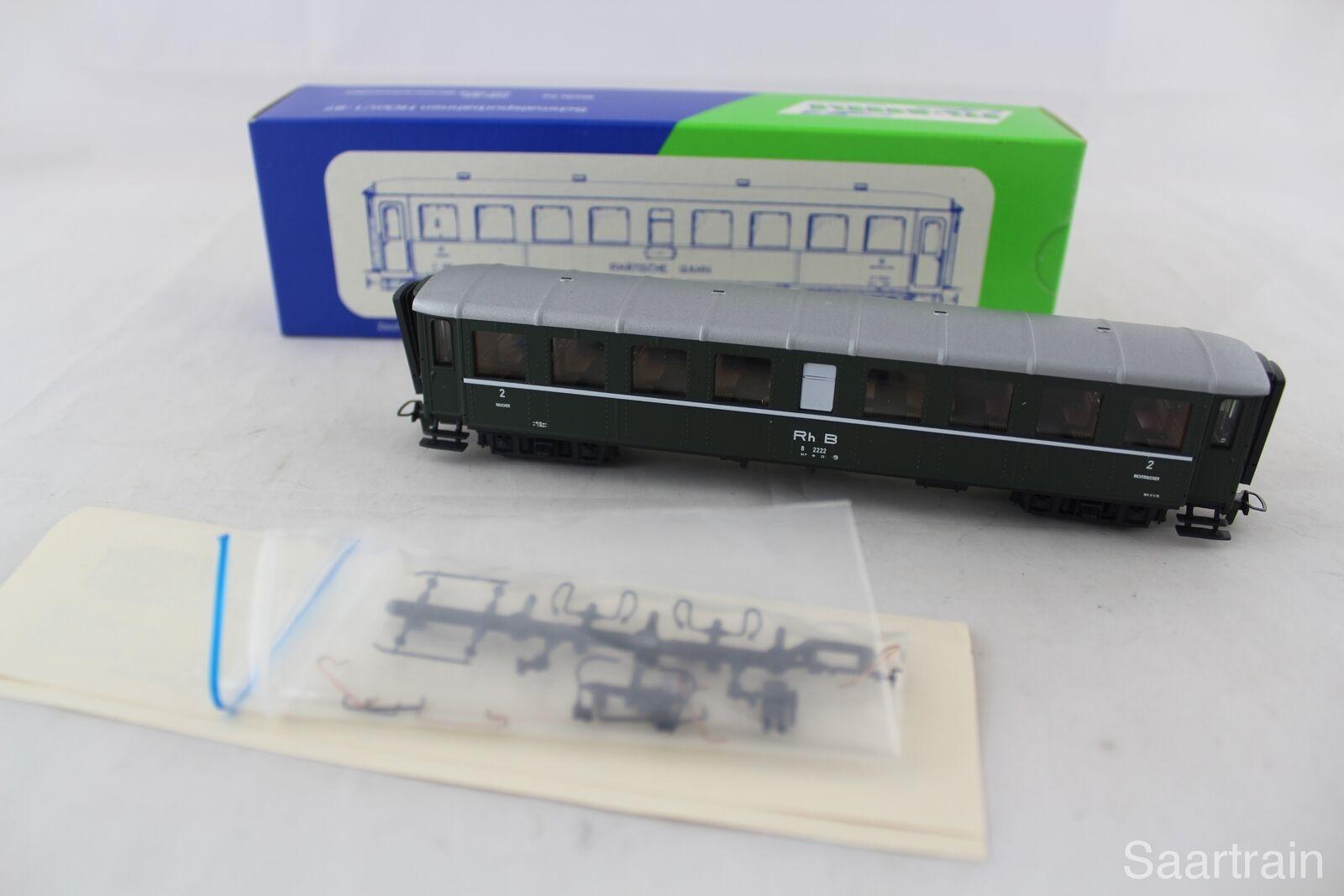 STL-models 2202/2 vagoni 2222 della RHB in verde, nuovo-condizioni con imballo originale