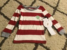 B86 Burt s Bees Baby Organic Cotton Rugby Striped Pajama shirt- Cranberry  18M 2586985ae