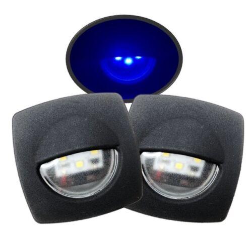 Marine Boat LED Pontoon RV 2Pcs Blue Square Courtesy Light Black 1.75D 2.24x2.24