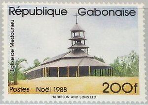 Gabun Kompetent Gabon Gabun 1988 1026 653 Christmas Weihnachten Religion Medouneu Church Mnh