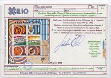 1990 REPUBBLICA ITALIA '90 FOGLIETTO VARIETA' INTEGRO CERTIFICATO CILIO A/11519