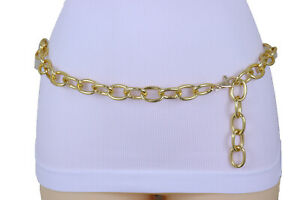 Women-Gold-Metal-Chunky-Oval-Chain-Links-Trendy-Fashion-Waist-Hip-Belt-XS-S-M