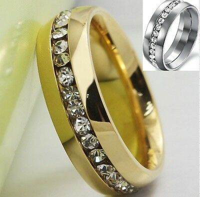 Size 5-15 8MM Silver Gold Stainless Steel Ring Band Wedding Engagement Cluster