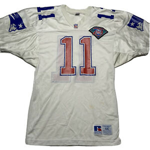 Vintage 90s Russell Mens 44 Drew Bledsoe New England Patriots Jersey 75 Years