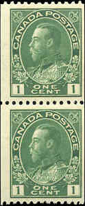 Mint-NH-Canada-1915-24-Pair-1c-Coil-F-Scott-131-King-George-V-Admiral-Stamps