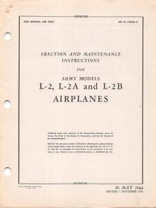 1944 AAF TAYLORCRAFT L-2,L-2A,B /& M GRASSHOPPER PILOTS FLIGHT MANUAL HANDBOOK-CD