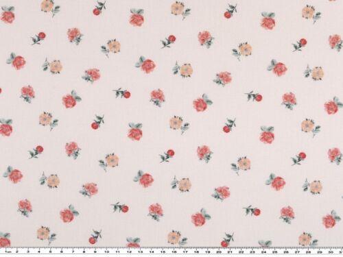 Popeline kleine Blumen Digitaldruck weiß-rot-altrosa