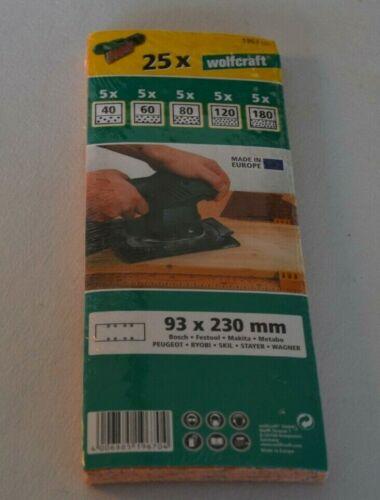25 Wolfcraft Schleifstreifen 93 x 230 mm psd für Bosch Makita Metabo