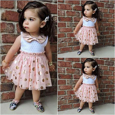 New Baby Girls Sequins Pink Tutu Kids Princess Summer Casual Tulle Dress 1-6Y