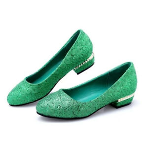 Womens-Sequins-Block-Low-Heel-Loafers-Wedding-Glitter-Pumps-Shoes-Slip-on-uk7-5