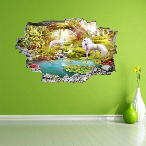 Unicorn Stickers Mural Decal Wall Art Fairy Tale Magical Forest Castle Kids AZ20