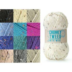 Sirdar-Hayfield-Chunky-Tweed-100g-Ball-Knitting-Crochet-Knit-Craft-Yarn
