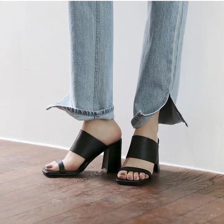 Sandaleei 7 cm eleganti nero tacco quadrato Sandaleei simil pelle 1099