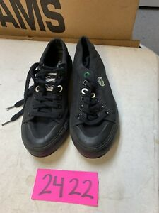 Men-Lacoste-Sideline-Shoes-Black-Canvas-Gum-Outsole-Lace-Up-Sneakers