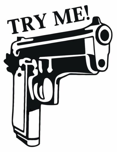 Gun Try Me Weapon Motto Quote Wall Door Art Decal Sticker Picture Poster