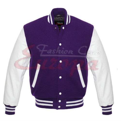 Sleeves Letterman 4xl JacketLeather Baseball Purple College Varsity Xs Wool PvN0y8nmwO