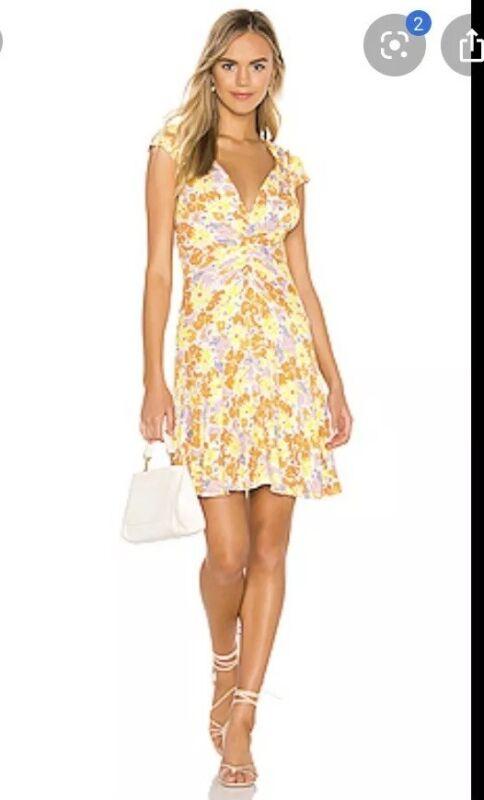 Free People Schlüssel Zu Ihrem Herz Bedrucktes Kleid Gelb Tee Kombination M Nwt