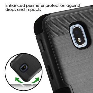 Black HYBRID Armor Dual Layer Rugged TPU Cover For Samsung