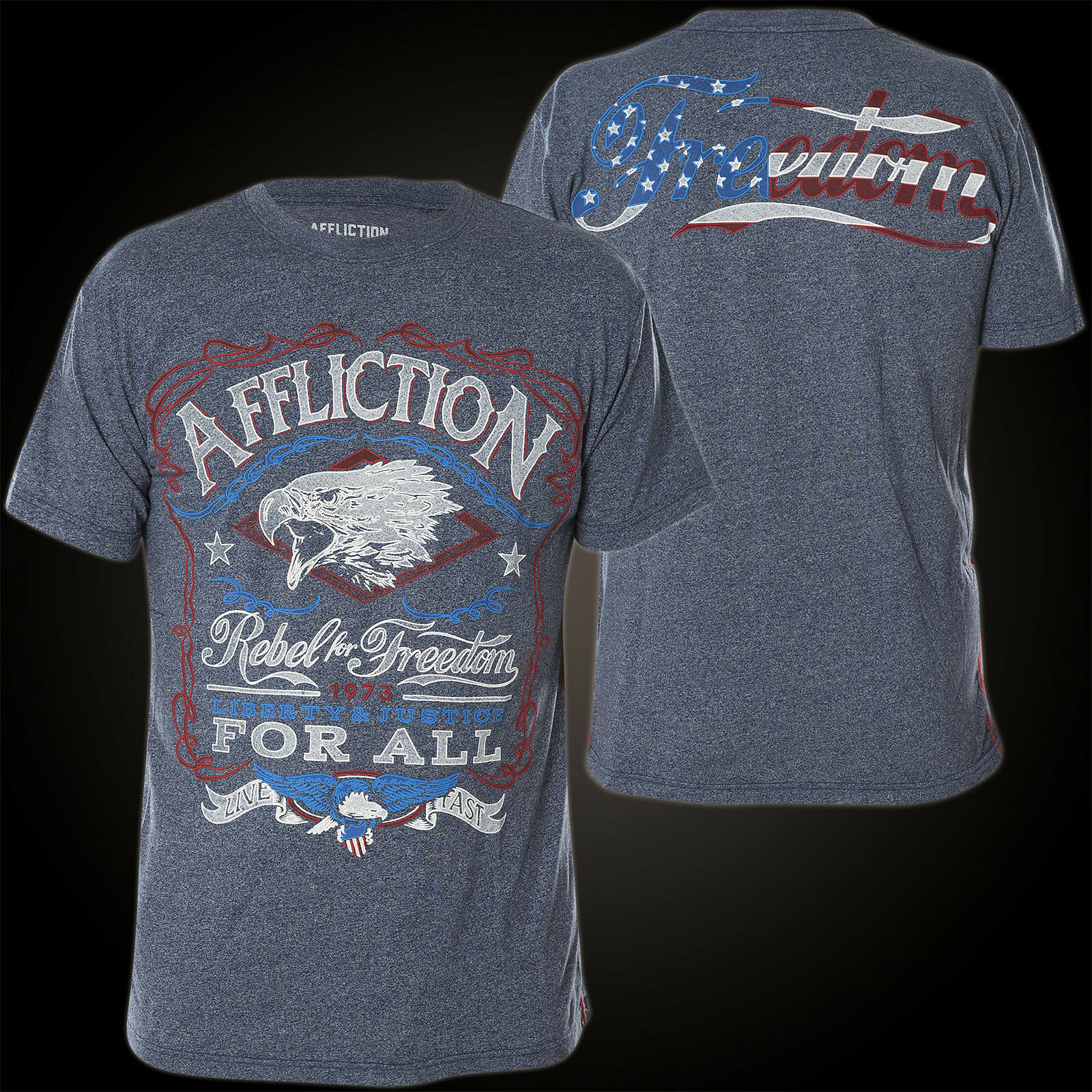 AFFLICTION T-Shirt Freedom Rebel Blau T-Shirts