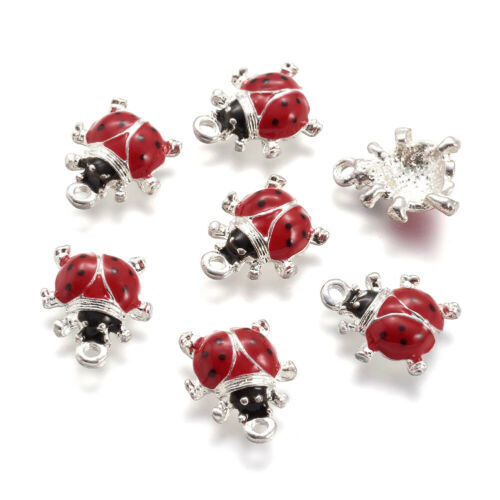 10 Alloy 3D Ladybug Enamel Charms Silver Back Plated Dangle Pendant Red 15.5mm