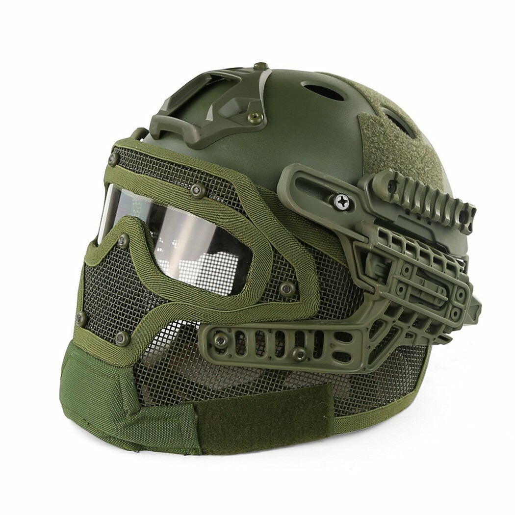 Tactical Fast Combat Helmet PJ Type with Predective Goggle and Mesh Face Mask GN