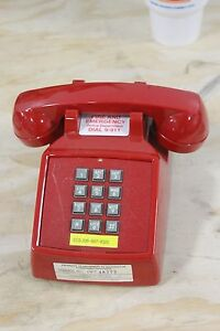 Details about Vintage Cortelco ITT Touch-Tone Dial Desk Top Phone Red  Telephone NICE