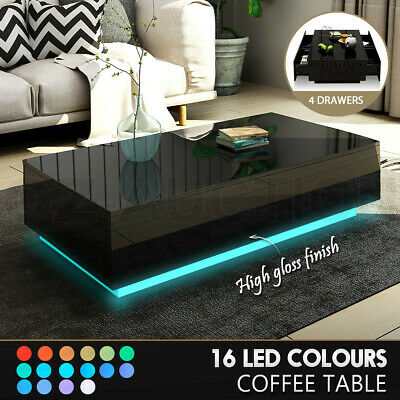 Details about  Modern LED Coffee Table Storage High Gloss Living Room Furniture 4 Drawers Black