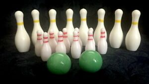 Details about Mini Bowling Pins 2 Sizes  2 Balls Hard Plastic Red   Game /  Cake Topper