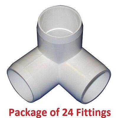 "1/"" Furniture Grade 3-Way Corner Elbow PVC Fitting 24 Pack"