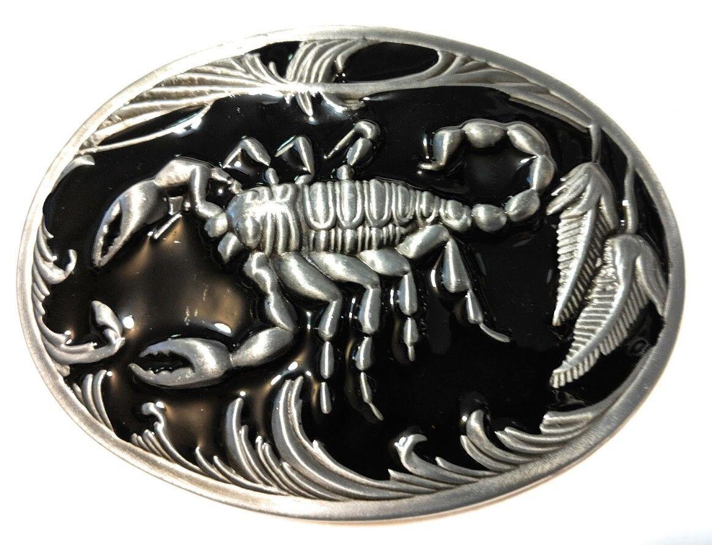 ✖ ✖ Scorpion Hebilla de cinturón metal níquel satinado/Plata Cepillada color negro vendedor de Estados Unidos