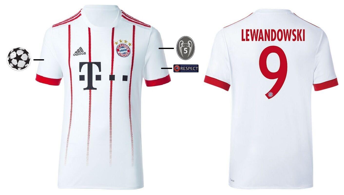 Trikot Adidas FC Bayern Bayern Bayern 2017-2018 Third - Lewandowski  Champions League e18783