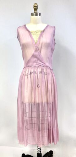 Antique Vintage 1920s Lavender Flapper Dress Sheer