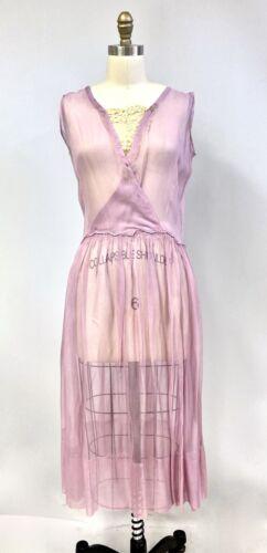 Antique Vintage 1920s Lavender Flapper Dress Sheer