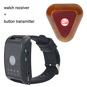 Hot-Wireless-Watch-Call-Receiver-Pager-System-Button-Transmitter-Vibrate-Buzzer