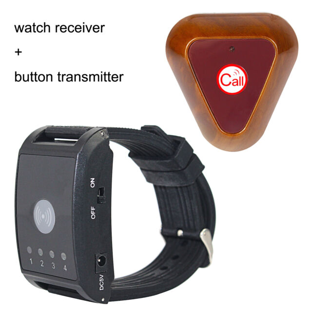 433MHz 4 Channel Wireless Watch Call Receiver +1*Pager Button for Paging system