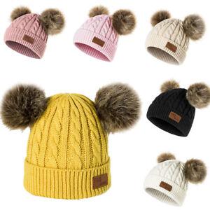 a66e8483372 Double Ball Children s Wool Hat Twist Wool Ball Baby Knitted Cap ...