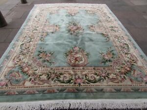 Vintage-Hand-Made-Art-Deco-Chinese-Oriental-Green-Wool-Rug-Carpet-366x275cm