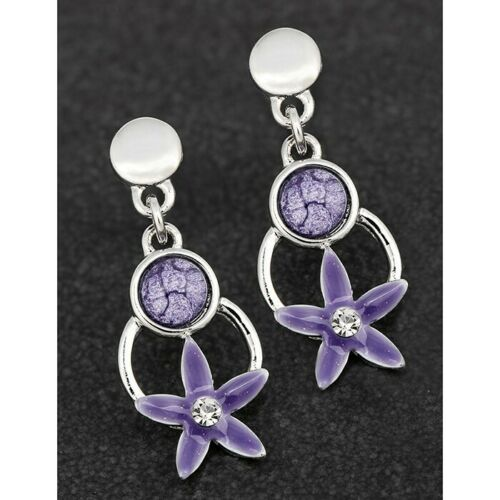Equilibrium Silver Plated Jewel Tones Daisy Drop Stud Earrings  289555
