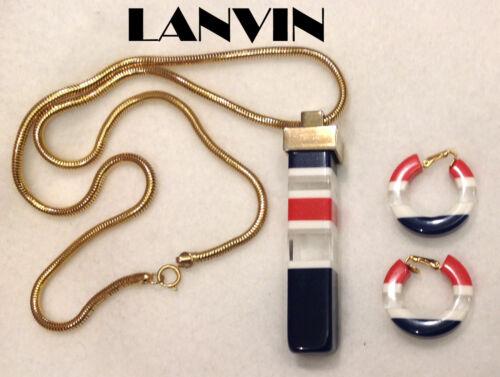 Vintage Lanvin Lucite Necklace Clip Earrings Set … - image 1