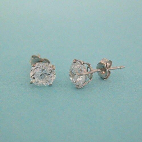 10K Solid or Blanc Zircone Cubique Boucles d/'oreille 5 mm Dia Panier Setting