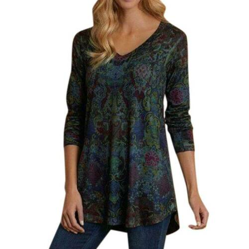 Women/'s Long Sleeve Tops T-Shirt Ladies Loose Floral Pullover Tunic Blouse 8-22