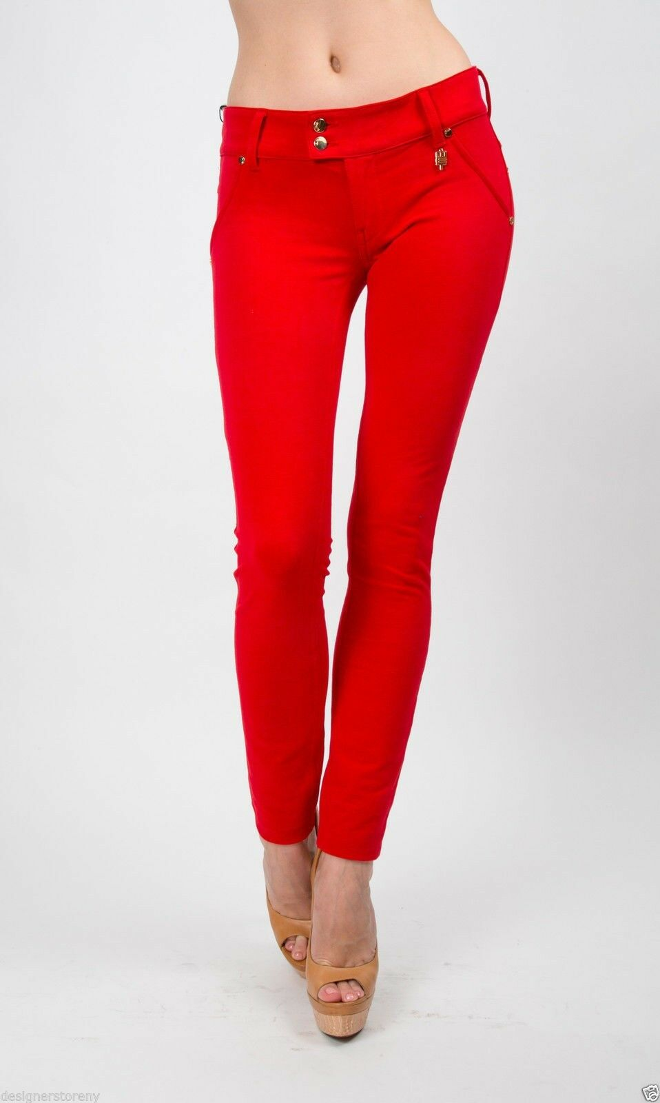 MET in Jeans K-FIT J green Red Stretch Pants Slim fit plush trousers low-waist
