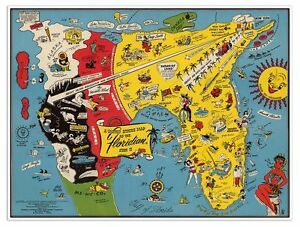 Florida In Usa Map.Details About Floridian S Idea Of The United States Of America Florida Usa Map Circa 1948