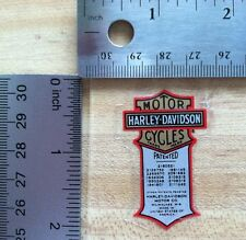Harley-Davidson Patented Inside Window Decal.Vintage Harley Sticker.1.25 X 2.25