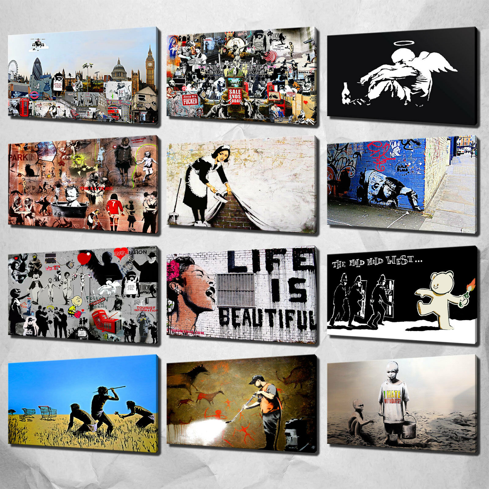BANKSY RAT COLOURFUL COLLECTION GRAFFITI CANVAS PRINT PICTURE POSTER WALL ART