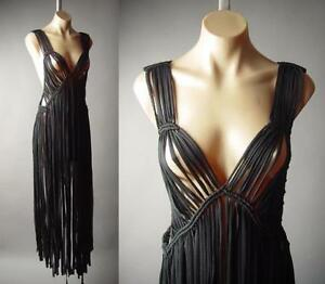Black-Macrame-Long-Fringe-60s-70s-Wiccan-Boho-Woven-Top-Duster-189-mv-Vest-S-M-L
