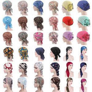 Women-039-s-Cancer-Hat-Chemo-Cap-Muslim-Hair-Loss-Head-Scarf-Turban-Head-Wrap-Cover