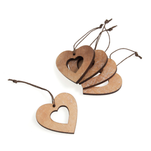 Small Wooden Hearts With String x 5 wedding craft decoration decorating hanging
