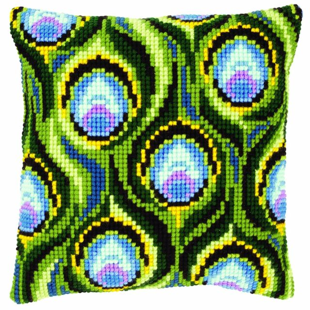 Vervaco - Cross Stitch Cushion Front Kit - Peacock Feathers - PN-0145969